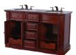 60″ Solid Wood Double Sink Bathroom Vanity in Granite Top